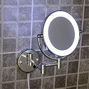 """8"""" Brass 1x3X magnifying bathroom wall mounted round 25 led cosmetic makeup mirror With lighting Mirror"""
