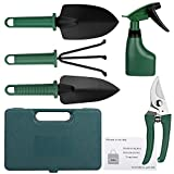 Fiyken Garden Tools Set, Heavy Duty Gardening Tools Kit - Pruner, Trowel, Transplanting Spade, Rake, Sprayer and More Gardening Gifts Tools Set Vegetable Herb Garden Hand Tools (6 in 1)