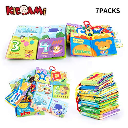 KIDAMI Baby Soft Books for 0-6 Months Including Cloth Book and Bath Book for Babies&Toddlers&Infants Babys First Books Colorful Early Educational Toy Perfect Shower Gift for Boy & Girl (7 Pack)