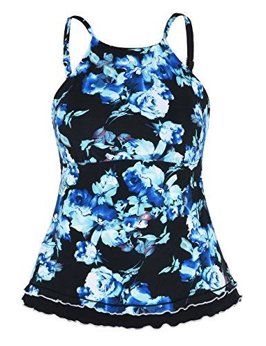Firpearl Womens Swimsuit High Neck Retro Ruffle Hem Tankini Top Swimwear Blue Floral 14