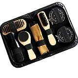 Maikerry Shoe Cleaner Kit Home Travel Portable Shoe Set Shoe Shine Box Set of 8 Pieces Shoe Polish kit is Very Convenient Which Includes Shoe Polish, Shoe Brush, Sponge Brush,Towel and So On