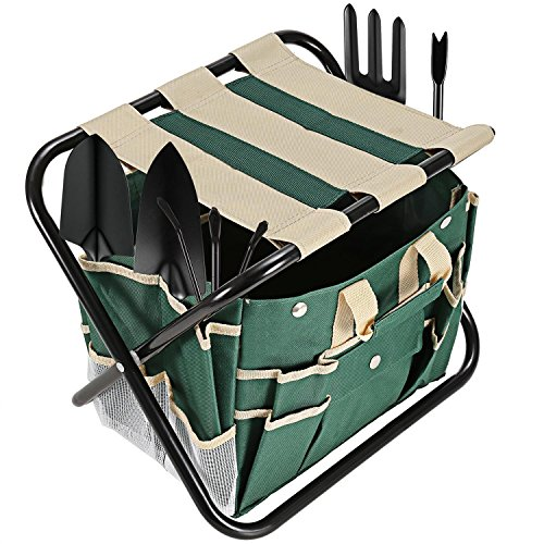 Homdox 7 Piece Garden Tool Set. Kit Includes Detachable Storage Tool Bag, Folding Stool Seat and 5 Stainless Steel Gardening Tools by Homdox (Image #1)