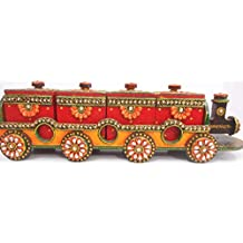 Traditional Beautiful Indian Handmade Paper Mache DryFruit Box Set of four UtilityBoxes in shape of Train an ideal Table decor Piece