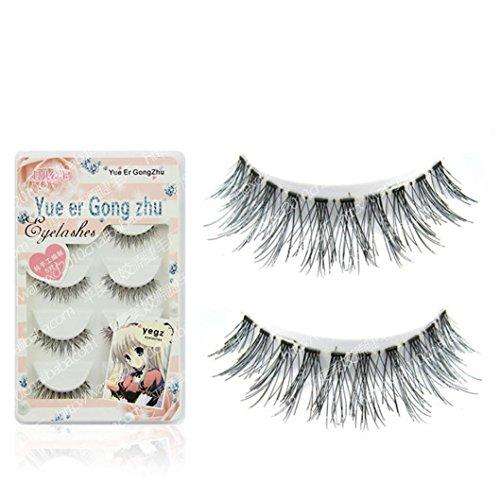 5 Pair False Eyelashes, AMA(TM) New Japanese Style Natural Long False Eye Lashes Extension Thick Black Eyelashes Cluster Makeup (A)