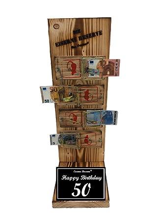 Happy Birthday 50 Geburtstag - Eiserne Reserve ® Mausefalle Geldgeschenk -  Die lustige Geschenkidee - Geld verschenken
