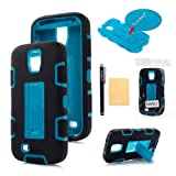 TIANLI(TM) Robot Armor Defender With Stand Case For Samsung Galaxy S4 i9500+[Screen Protector]+[Free Stylus]+[Cleaning Cloth] Black Teal A1
