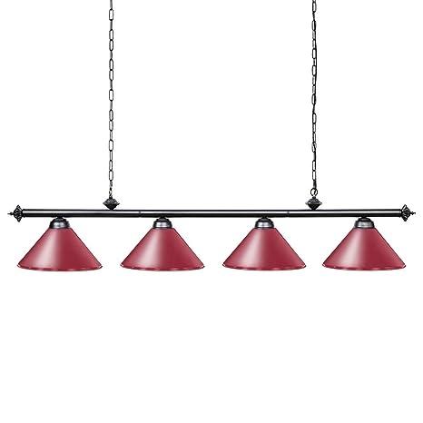Wellmet Lámpara de billar con 4 luces, billar de 1,8 m para ...
