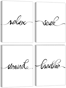4 Panels Inspirational Art Print Wall Poster Motivational Quote Black and White Words Posters Canvas Saying Painting Posters for Kids Room Modern Decoration