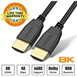 8K HDMI Cable 6ft, BIFALE HDMI Cable 2.1 Support 8K@120Hz,4K@120Hz, Ultra-high Speed 48Gbps, Dynamic HDR, Dolby Vision, eARC Compatible with Apple TV, Nintendo Switch, Roku, Xbox, PS4, Projector-1.8M