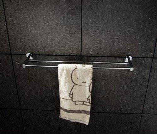 GUMA Antique Brass Bathroom Towel Rail Bar Hanger - Solid Brass Towel Rack (Chrome, Double) by GUMA