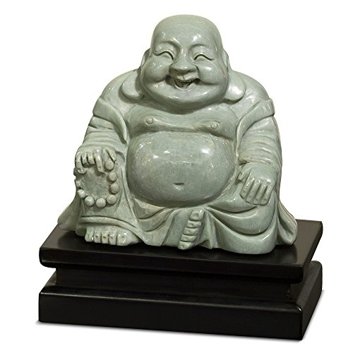 ChinaFurnitureOnline Jade Happy Buddha Statue with Wooden Stand, 6 Inches High Hand Carved Sitting Laughing Buddha Green
