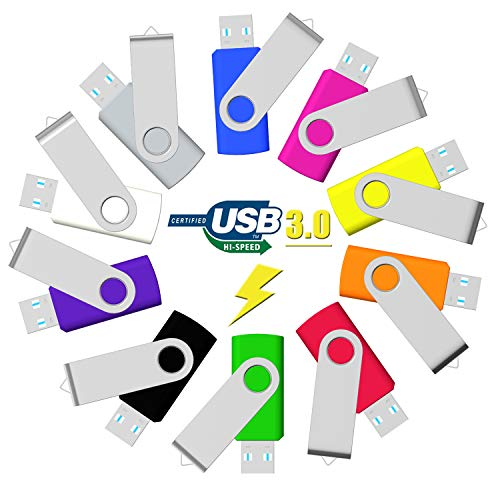 (32GB Flash Drive USB 3.0 10 Pack, USB Drive 32GB USB3.0 High Speed 10 PCS Memory Stick JBOS Swivel Thumb Drives Gig Stick Pen Drive for Data Storage, Zip Drive, Jump Drive, Flash Stick, Mixed Colors)