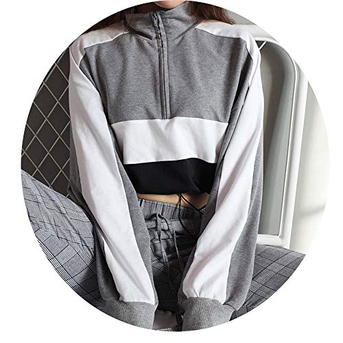 Friedman Long Sleeve Pullover Sweatshirt Patchwork Crop Top Hoody Sudaderas moletons Femininos at Amazon Womens Clothing store: