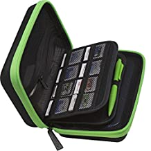 BRENDO New Nintendo 3DS XL Carrying Case with 24 Game Cartridge Holders and Large Stylus - BLACK/LIME GREEN