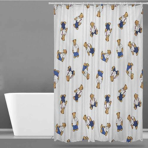 Beihai1Sun Home Decor Shower Curtain,Kids Cute Teddy Bear Style Dog on Nostalgic Polka Dots Childish Cartoon,Waterproof Colorful Funny,W48x84L,Violet Blue Pale Brown Black