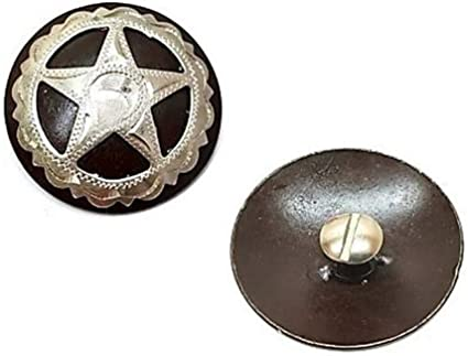 "1-1//2/"" Western Engraved Star Concho Leather Craft Decor Screw Back."