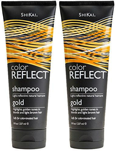 Shikai Blonde Shampoo - ShiKai Color Reflect Gold Shampoo (Pack of 2) with Chamomile Extract, Sunflower Extract, and Coconut Oil, 8 oz.
