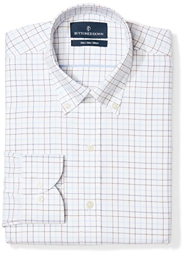- BUTTONED DOWN Men's Slim Fit Button Collar Pattern Non-Iron Dress Shirt, White/Brown/Blue Tattersall Overcheck, 17.5