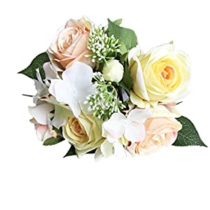 Allywit 1 Bouquet 8 Flower Artificial Rose Fake Silk Flower Leaf Bridal Home Wedding Party Decor (D) 108