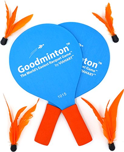 VIAHART Goodminton | The World's Easiest Racket Game | an Indoor Outdoor Year-Round Fun Paddle Game Set for Boys, Girls, and People of All Ages ()