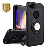 KACHEN Compatible for iPhone 7 Plus, 8 Plus, 360 Degree Rotating Ring Grip Kickstand Case [Tempered Glass Screen Protector] Dual Layer Protection Compatible with Magnetic Car Phone Mount, Plus -Black