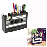 Cisixin Desk Tidy Retro Cassette Tape Dispenser Pencil Holder Pen Container Organize Your Desk Office Suppliers Student Stationary Great Holiday Gift (Black)
