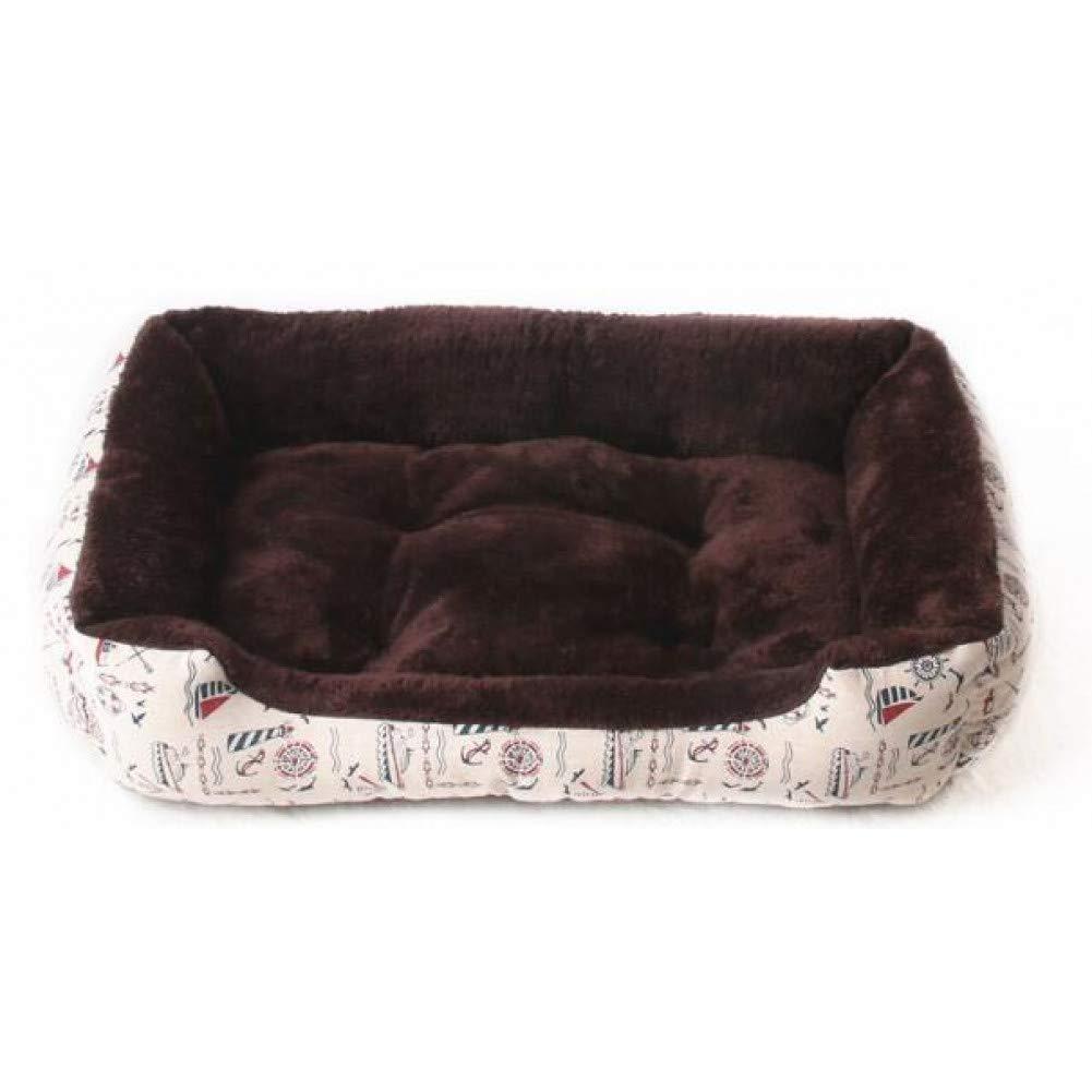Dark brown 50cm Universal Print Dog House Washable Large Dog Bed Sofas Bull Terrier Pug Dog Basket Winter Warm Plush Pet Bedding Four colors