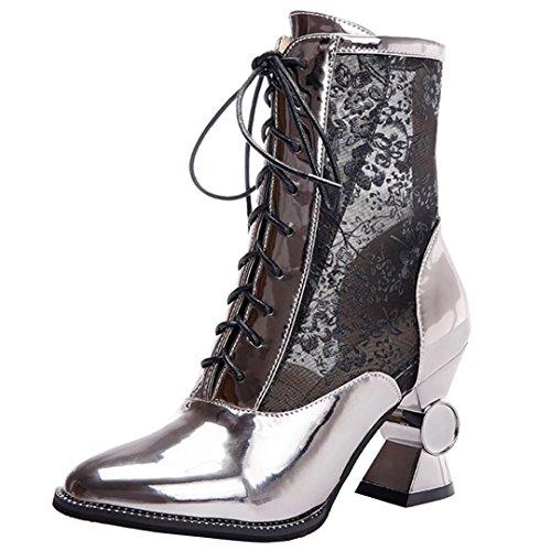 AIYOUMEI Damen Lackleder mit Netzgarn Herbst Stiefeletten mit Schnürung und 6cm Absatz Blockabsatz Elegant Schuhe 6C7prZ40O