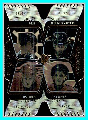 (2007-08 SPx Force Quad Holograms #F5 Nicklas Lidstrom Scott Niedermayer Bobby Orr Dion Phaneuf Red Wings Ducks Bruins)