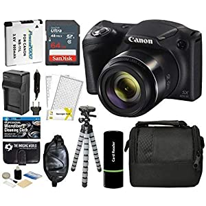 51xSNqNQJ0L. SS300  - Canon PowerShot SX420 IS Digital Camera (Black) with 20MP, 42x Optical Zoom, 720p HD Video & Built-In Wi-Fi + 64GB Card…