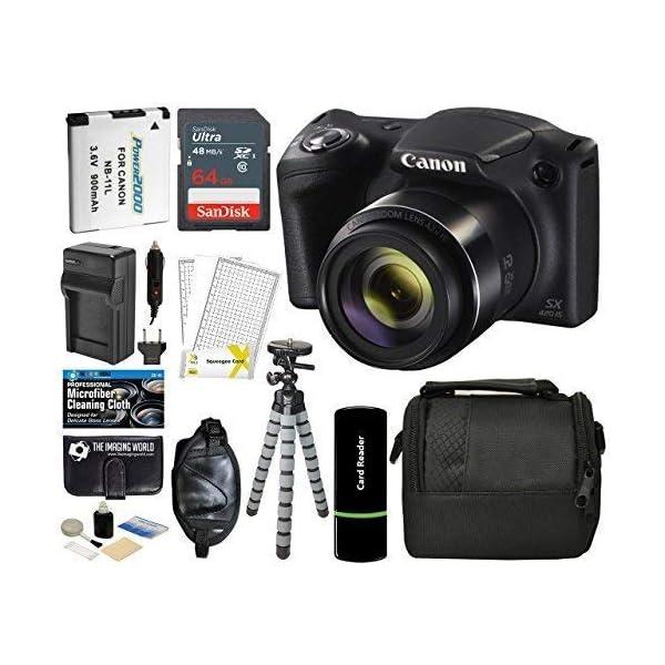 51xSNqNQJ0L. SS600  - Canon PowerShot SX420 IS Digital Camera (Black) with 20MP, 42x Optical Zoom, 720p HD Video & Built-In Wi-Fi + 64GB Card…