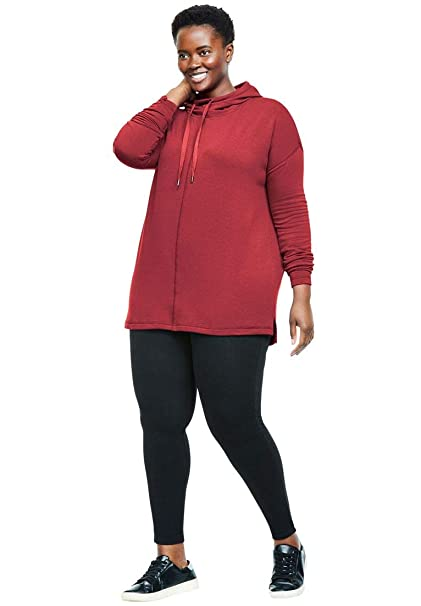 fcb0816ec7d Woman Within Plus Size Funnel Neck Hoodie and Legging Set - Strawberry Red