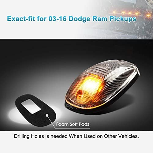 5050 White 194 T10 LED Compatible with Dodge Ram 1500 2500 3500 4500 5500 2003-2018 Pickup Trucks Partsam 5X Clear Cover Cab Marker Light 264146CL