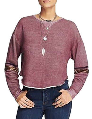 Free People Harper Embellished Sweatshirt, Purple, Small