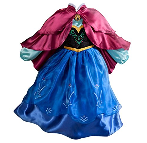 [Uget® Girls Frozen Snow Romance long-sleeved snowflake snow princess dress Blue-6 Years] (Baby Anna Costumes Frozen)