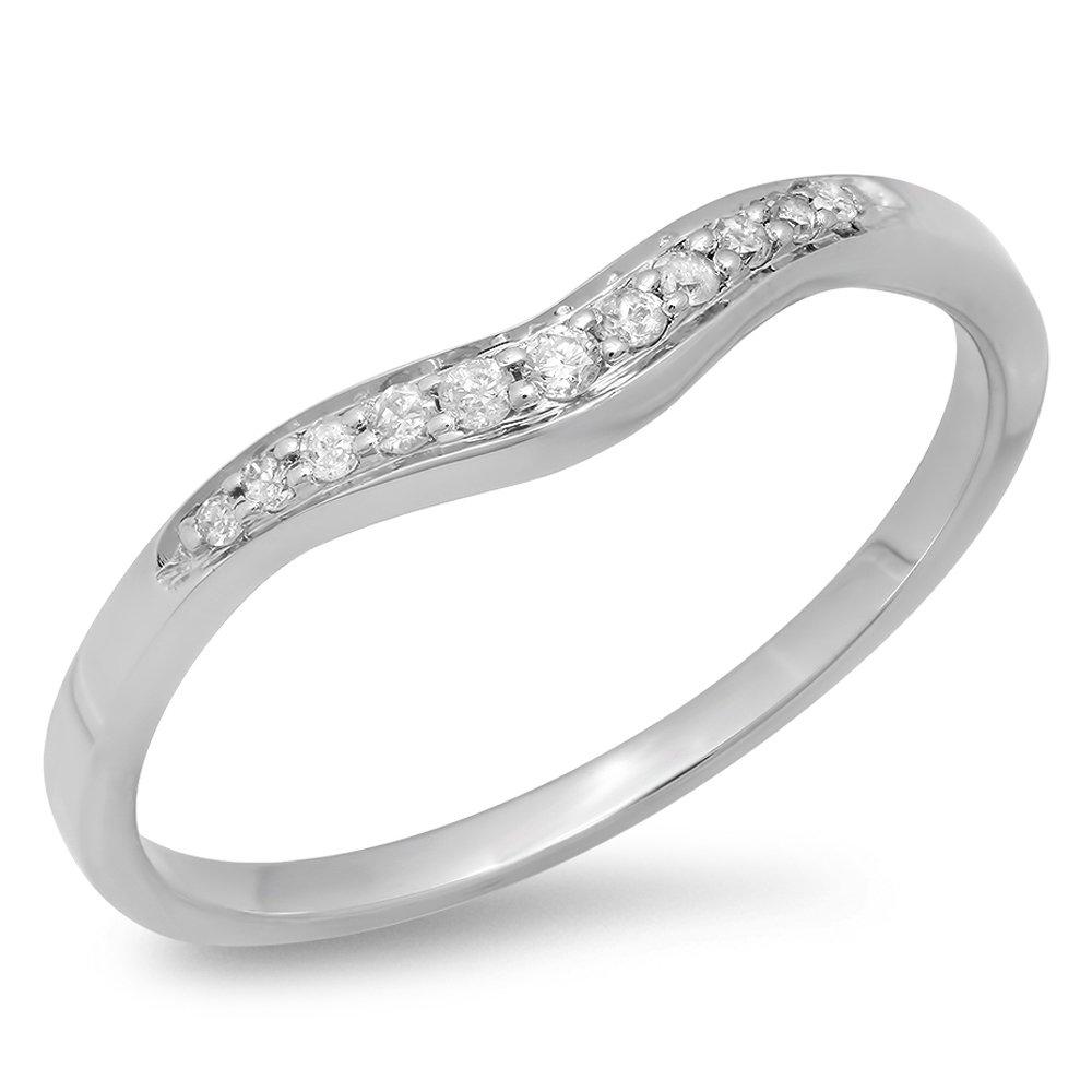 Dazzlingrock Collection 0.11 Carat (ctw) 14K Round Diamond Ladies Wedding Stackable Contour Guard Band, White Gold, Size 7