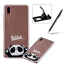 Soft TPU Case for Huawei P20,Shock-Absorbing Rubber Case for Huawei P20,Herzzer Stylish Slim Fit Hello Panda Pattern Shockproof Scratch Resist Flexible Silicone Back Cover