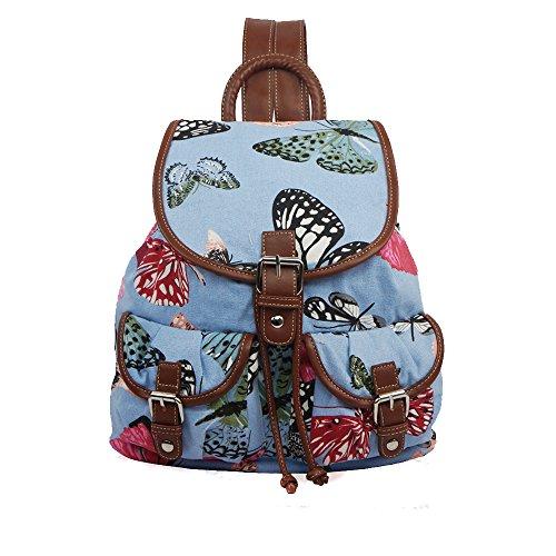 Mujer Niñas mariposa lienzo mochila mochila escolar bolsa Colegio Bolsa de hombro para mujer azul claro