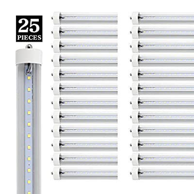YKUNLED T8 8ft LED Light Tube, FA8 Single Pin Base, 8 ft 6000K Cool White, 45W,4800lm,Clear Lens, Dual-Ended Power, Pack of 25 ( Clear Cover)