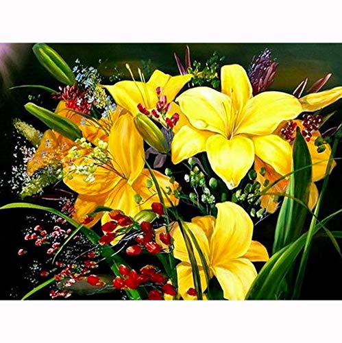 (Werewtr Diamond Drawing 5D DIY Diamond Painting Painted Yellow Flower Arrangement Mosaic Embroidery Cross Stitch Embroidery Crafts Decoration,50Cmx60Cm)