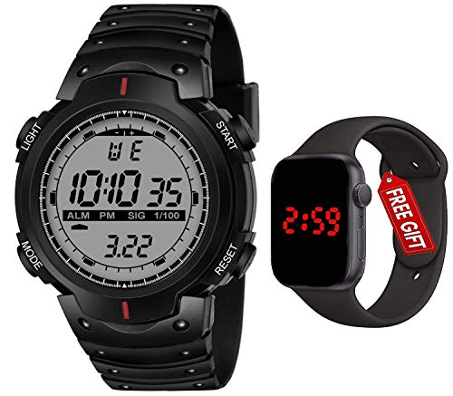 Acnos Brand – A Digital Watch Shockproof Multi-Functional Automatic Black Strap Waterproof Digital Sports Watch for Men…