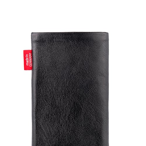 fitBAG Beat Black custom tailored sleeve for Apple iPhone X. Fine nappa leather pouch with integrated microfibre lining for display cleaning by fitBAG (Image #4)