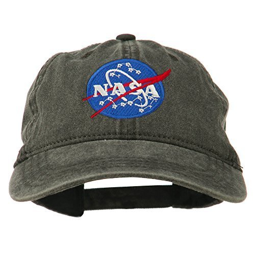 NASA Insignia Embroidered Pigment Dyed Cap - Black OSFM (Pigment Mens)