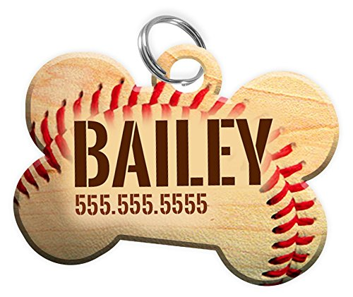 Personalized Baseball Pet Tag for Dogs with Custom Pets Name & Contact Number [Multiple Font Choices] [USA COMPANY]