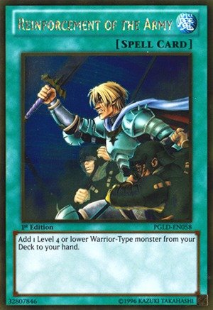 Yu-Gi-Oh! - Reinforcement of the Army (PGLD-EN058) - Premium Gold - 1st Edition - Gold Rare (Army 1st Edition)