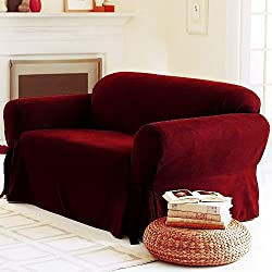 SOLID SUEDE Couch Cover 3 Pc. slipcover Set = Sofa + Loveseat + Chair Covers / Slipcovers 3 Pcs SET - BURGUNDY RED color