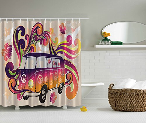 Bohemian Hippie Boho Shower Curtain by Ambesonne, Peace Emblem Van Funny Minivan Explorer Caravan Paisley Antiqued Look Groovy Retro Art for Teen Girls Shower Curtain, Beige Purple Orange Yellow Black
