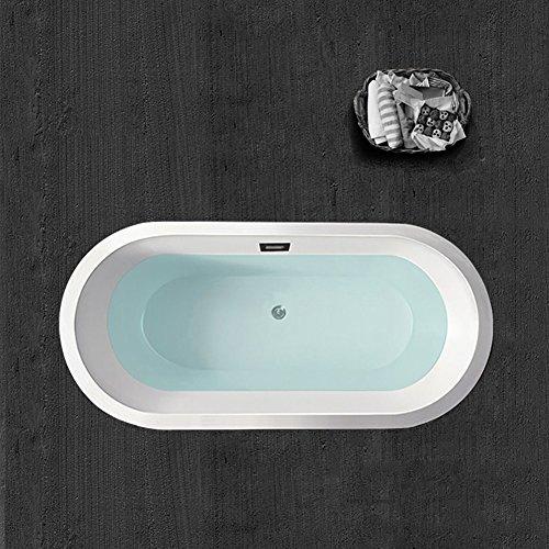 "Woodbridge B 0012 BTA1506 59"" Acrylic Freestanding Bathtub Soaking Tub B-0012 with Brushed Nickel Faucet, BTA1506/B0012 +F0001"