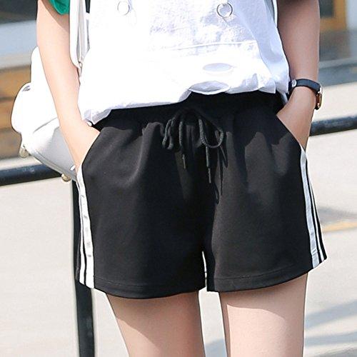 A Media Per Moda Yying Corti Tasche Vita Forti Fitness Nero Estate Taglie Con Sport Righe Loose Casuale Jogging Donna Fit Shorts Pantaloni Pantaloncini qq6fwz