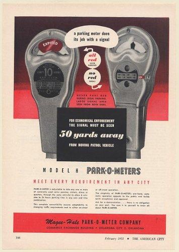 1955 Magee-Hale Park-O-Meter Model H Parking Meter Red Signal Print Ad (Memorabilia) (60272) - Park Model H